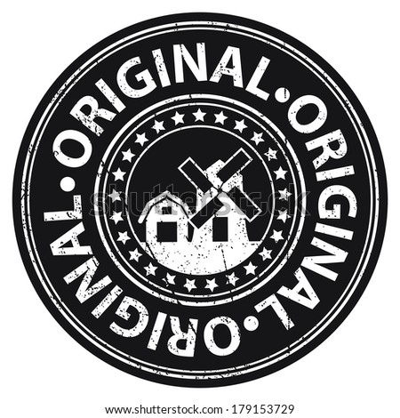 Black Grungy Style Original Icon, Label or Sticker Isolated on White Background  - stock photo