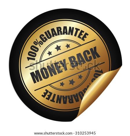 Black 100% Guarantee Money Back Infographics Peeling Sticker, Label, Icon, Sign or Badge Isolated on White Background - stock photo