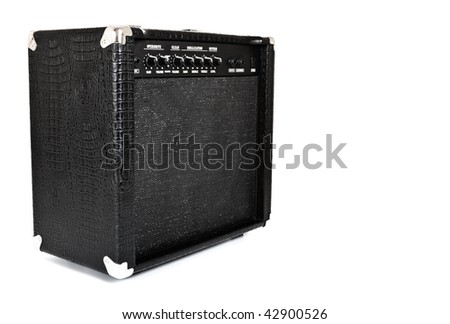 black guitar amplifier isolated on white - stock photo