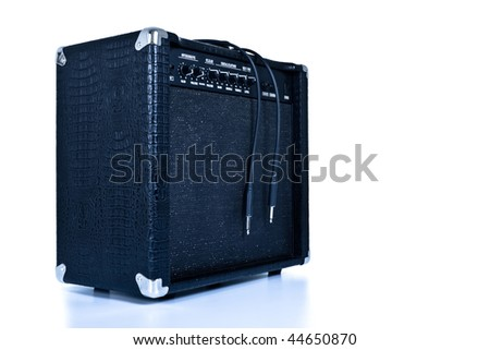 black guitar amplifier isolated on white, tinted - stock photo