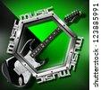 Black Guitar Hexagon Music Background / Music green background with metal hexagon, guitar and written music - stock photo