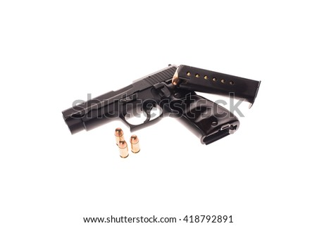 Black gun and Bullets on white background