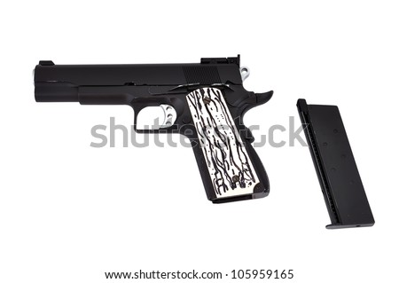 Black gun and ferrule on a white background