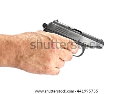 Black gun in a man's hand isolated on white background - stock photo