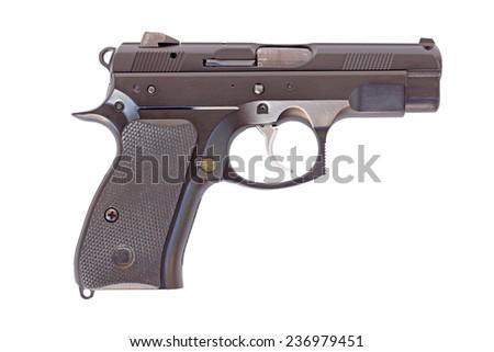Black gun on a white background - stock photo