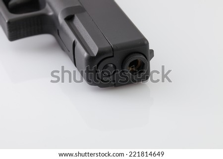black gun on white background.