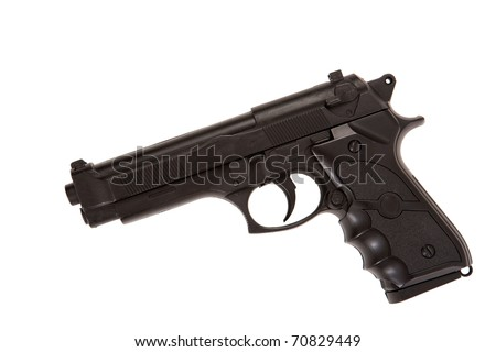 Black gun profile lying down isolated on white - stock photo
