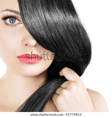 black hair - stock photo