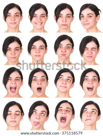 black hair adult caucasian woman collection set of face expression like happy, sad, angry, surprise, yawn isolated on white - stock photo