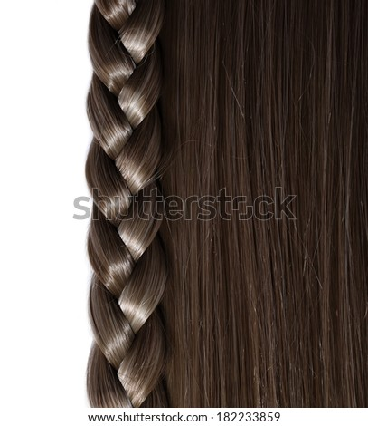Black Hair and Braid or Plait isolated on white background, Hair Care. Hear Salon - stock photo