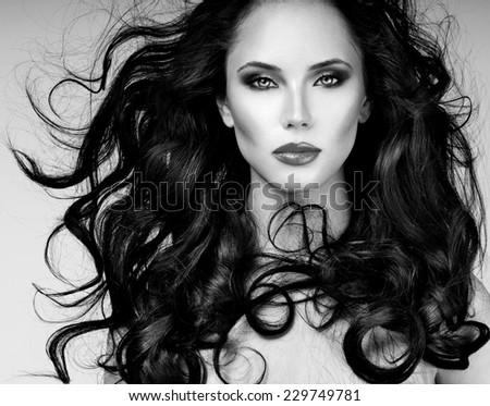 Black Hair. Fashion Girl Portrait. long  Hair - stock photo