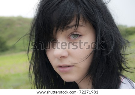 Black Hair Girl Portrait outdoor - stock photo