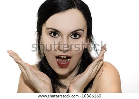 Black hair smiling girl in pin-up style. studio shot - stock photo