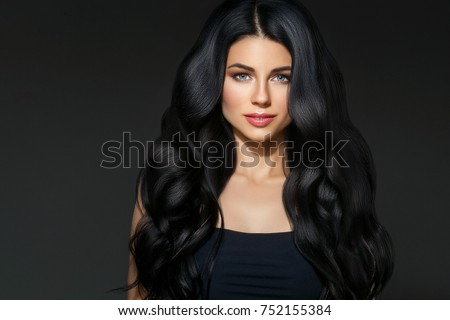 black hair woman beautiful brunette hairstyle stock photo
