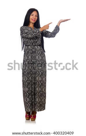 Black hair woman in long gray dress isolated on white - stock photo