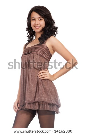 black hair young girl on a white background - stock photo