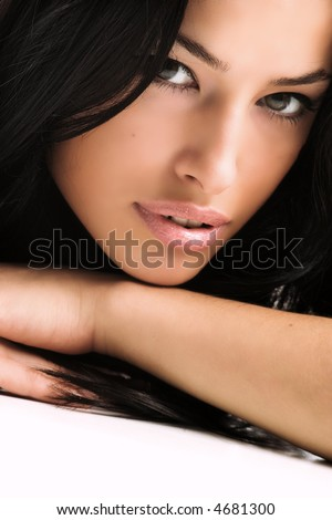 black hair young woman portrait, studio shot - stock photo