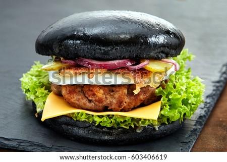 Black Hamburger Stock Images RoyaltyFree Images Vectors - Black hamburger