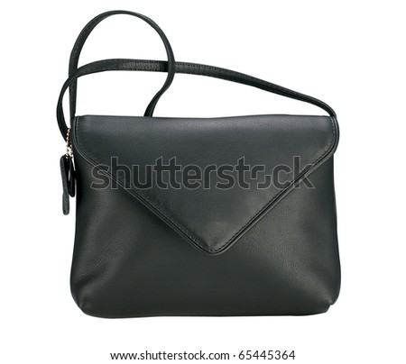 Black hand bag isolated on white background. - stock photo