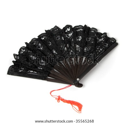 black hand fan with brush isolated