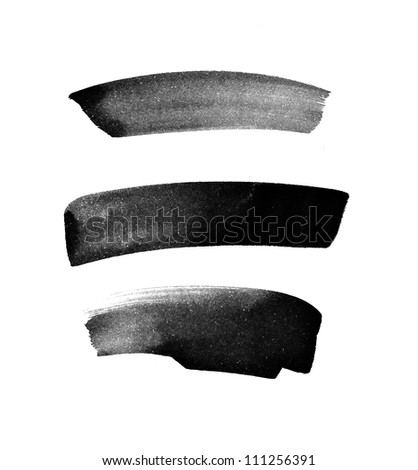 Black hand painted brush strokes daub - stock photo