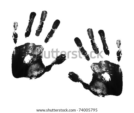 black hand prints - stock photo