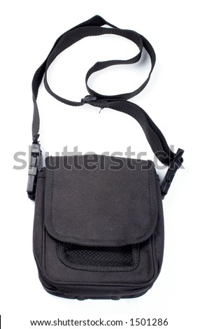 Black handbag isolated on white background