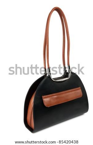 black handbag isolated on white background - stock photo