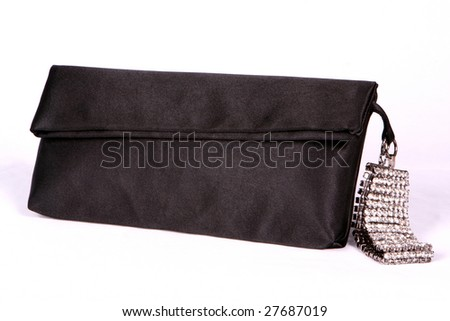 Black handbag with crystal bracelet