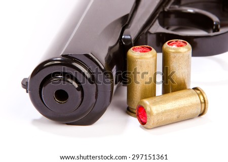 Black handgun And ammunition isolated on white pistol with ammo isolated - stock photo