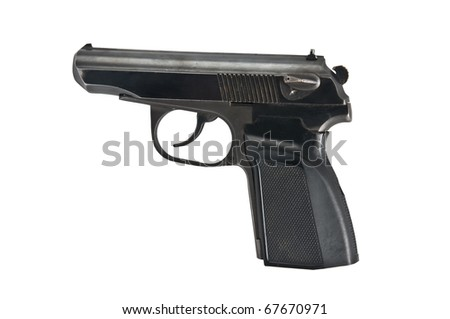 black handgun isolated on white