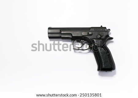 Black Handgun on a white background.