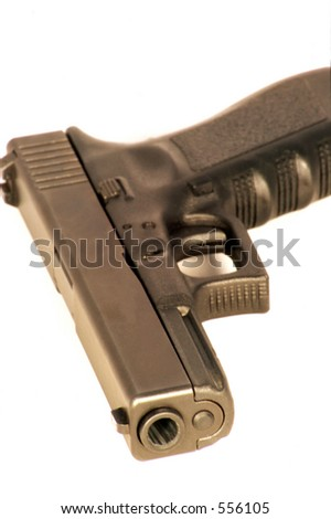 Black handgun on a white background