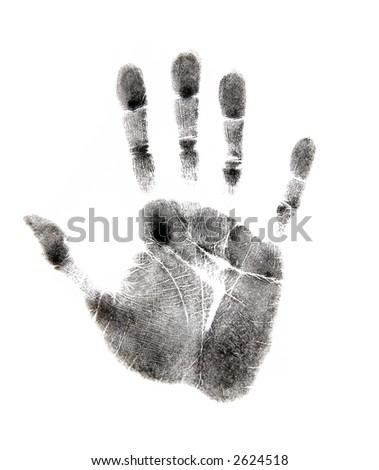 Black Handprint on White - stock photo