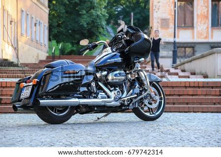 Black Harley Davidson Glide Motorcycle Warsaw Stock Photo 679742314