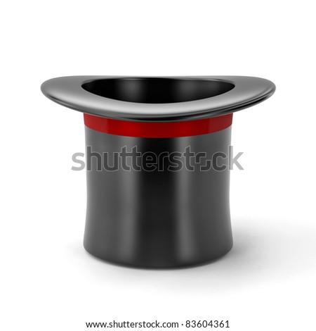 black hat isolated on white background - stock photo