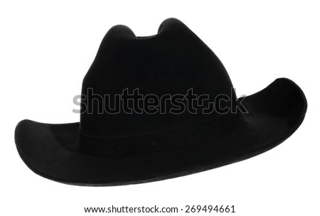black hat on the white background  - stock photo