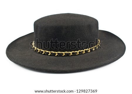 Black hat with chain isolated on white - stock photo