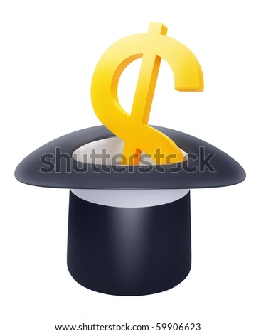 black hat with dollar sign inside - stock photo