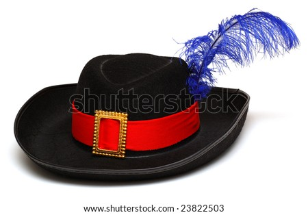 Black hat with feather and ribbon - stock photo