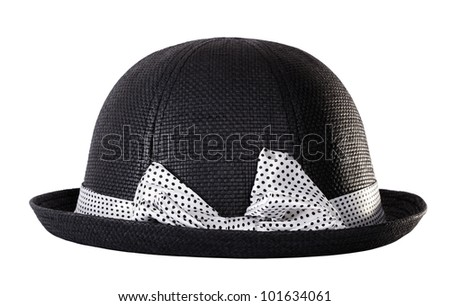 Black hat with white ribbon bow tie - stock photo