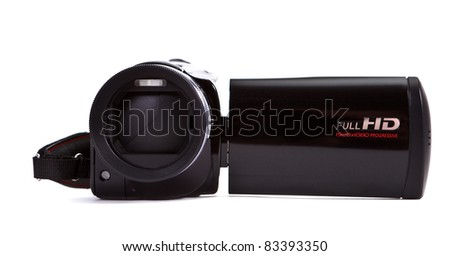 Black hd video camera isolated on white background - stock photo