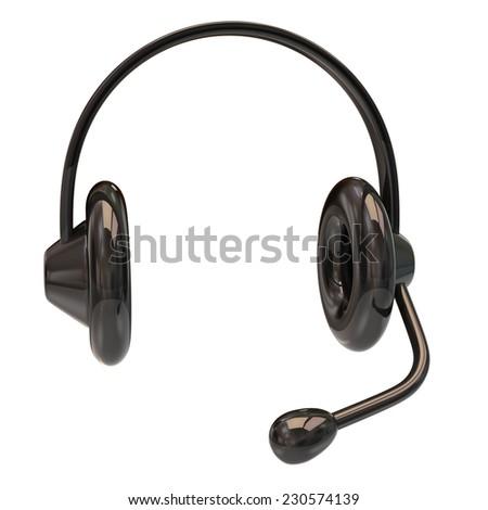 Black headphone icon - stock photo