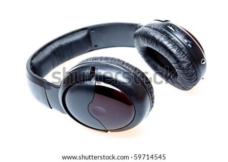 Black headphone isolated on a white background - stock photo