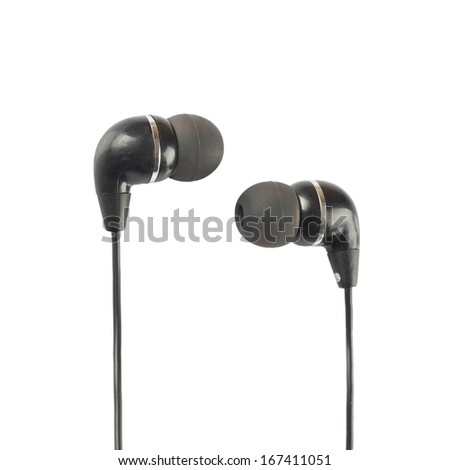 Black headphones closeup shot over white background