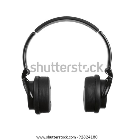Black Headphones Isolated on a White Background - stock photo