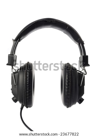 Black headphones isolated on white. - stock photo