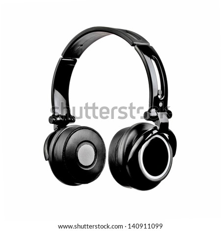Black Headphones Isolated on White Background