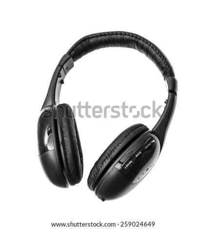 Black Headphones Isolated on White Background - stock photo
