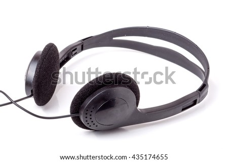 black headphones isolated on white background with a wire
